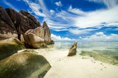 Παραλία Δ ` Argent πηγής Anse Στοκ φωτογραφία με δικαίωμα ελεύθερης χρήσης