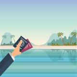 Παραλία εγγράφων HoldingTravel χεριών Επίπεδη διανυσματική απεικόνιση Στοκ Εικόνα