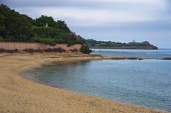 Παραλία επί του archeological τόπου της Νόρα, κοντά στην πόλη Pula, νησί της Σαρδηνίας Στοκ φωτογραφία με δικαίωμα ελεύθερης χρήσης