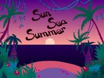 Παραλία θάλασσας ηλιοβασιλέματος διανυσματική απεικόνιση