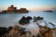 Παραλία Ινδονησία Bayah Banten Sawarna παραλιών Cibobos Στοκ Εικόνες