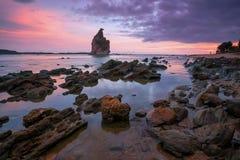 Παραλία Ινδονησία Bayah Banten Sawarna παραλιών Layar Teraje Tanjung Στοκ Εικόνες