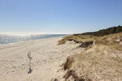 Παραλία και αμμόλοφοι σε Grenaa, χερσόνησος Djursland, Δανία Στοκ Εικόνες