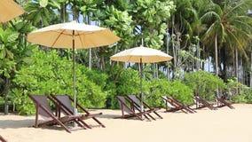 Παραλία και καρέκλες παραλιών απόθεμα βίντεο