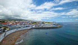 Παραλία και μαρίνα Angra do Heroismo, νησί Terceira, Αζόρες Στοκ Εικόνες
