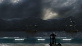 Παραλία και οργιμένος κύματα με το νεφελώδεις ουρανό και τα σκάφη φιλμ μικρού μήκους