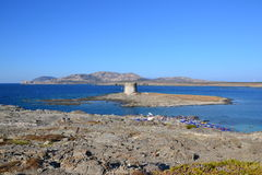 Παραλία και πύργος Λα Pelosa στη Σαρδηνία, Ιταλία Στοκ Φωτογραφίες
