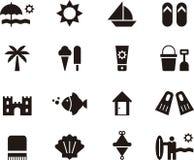 Παραλία και σύνολο θερινών εικονιδίων Στοκ φωτογραφία με δικαίωμα ελεύθερης χρήσης