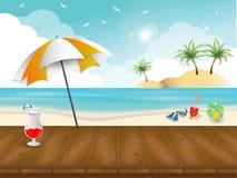 Παραλία και υπόβαθρο και ταπετσαρία θερινού θέματος Στοκ Εικόνες