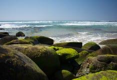 Παραλία και Mossy βράχοι Στοκ φωτογραφίες με δικαίωμα ελεύθερης χρήσης