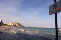 Παραλία καμία αφίσα Ισπανία Αλικάντε λουτρών Στοκ εικόνα με δικαίωμα ελεύθερης χρήσης