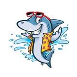 Παραλία καρχαριών κινούμενων σχεδίων διανυσματική απεικόνιση