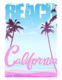 Παραλία Καλιφόρνιας, εγγραφή, σχέδιο τυπωμένων υλών Στοκ Φωτογραφία