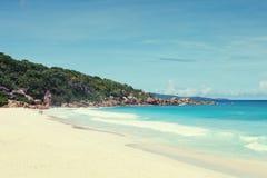 Παραλία μεγάλο Anse, Λα Digue, Σεϋχέλλες εικόνα που τονίζεται Στοκ εικόνες με δικαίωμα ελεύθερης χρήσης