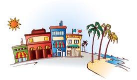 Παραλία με τα καταστήματα διανυσματική απεικόνιση