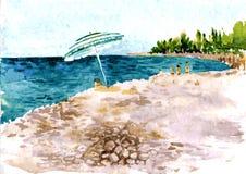 Παραλία με τους ανθρώπους και parasol διανυσματική απεικόνιση
