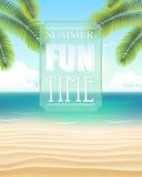 Παραλία με το χρόνο θερινής διασκέδασης διανυσματική απεικόνιση