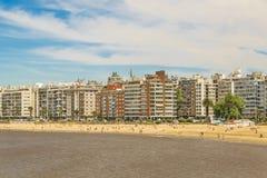 Παραλία Μοντεβίδεο Ουρουγουάη Pocitos Στοκ φωτογραφίες με δικαίωμα ελεύθερης χρήσης