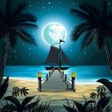 Παραλία νύχτας διανυσματική απεικόνιση