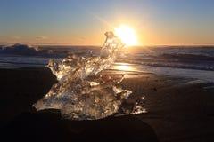 Παραλία πάγου Jokulsarlon, Ισλανδία Στοκ Φωτογραφία