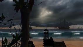 Παραλία πριν από τα οργιμένος κύματα και το νεφελώδεις ουρανό και τα σκάφη φιλμ μικρού μήκους
