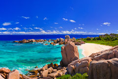 παραλία Σεϋχέλλες τροπι&kap Στοκ Εικόνες