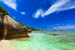 παραλία Σεϋχέλλες τροπι&kap Στοκ Εικόνα
