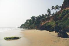 Παραλία σε Varkala στο κράτος του Κεράλα, Ινδία Στοκ εικόνα με δικαίωμα ελεύθερης χρήσης