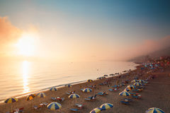 Παραλία στα επιβαρύνσεις Gordios της Κέρκυρας, Ελλάδα Στοκ Εικόνα