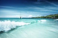Παραλία στις Σεϋχέλλες, Praslin Στοκ Φωτογραφίες