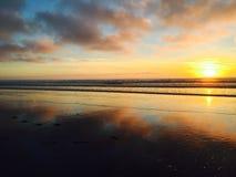 Παραλία στο ηλιοβασίλεμα Στοκ Φωτογραφία