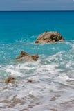 Παραλία της Petra Megali, Λευκάδα, Επτάνησα Στοκ Φωτογραφία