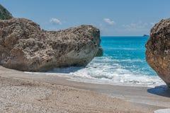 Παραλία της Petra Megali, Λευκάδα, Επτάνησα Στοκ φωτογραφία με δικαίωμα ελεύθερης χρήσης