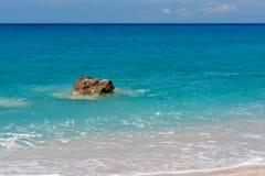 Παραλία της Petra Megali στο νησί της Λευκάδας Στοκ Εικόνες