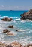 Παραλία της Petra Megali στο νησί της Λευκάδας Στοκ εικόνα με δικαίωμα ελεύθερης χρήσης