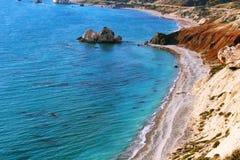 Παραλία της Petra Tou Romiou με το βράχο Aphrodite, Κύπρος Στοκ Εικόνα