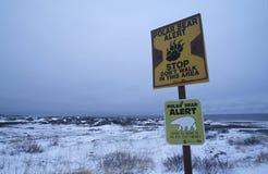 Παραλία του Καναδά του σημαδιού πληροφοριών πολικών αρκουδών Churchill στοκ φωτογραφίες με δικαίωμα ελεύθερης χρήσης