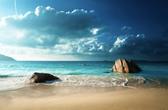 Παραλία του Λάτσιο Anse, νησί Praslin Στοκ φωτογραφία με δικαίωμα ελεύθερης χρήσης