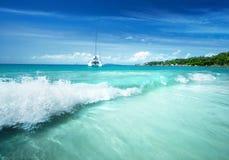 Παραλία του Λάτσιο Anse στο νησί Praslin Στοκ Φωτογραφίες