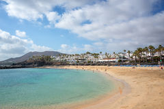 Παραλία φλαμίγκο στην πόλη του BLANCA Playa, σε Lanzarote, των Κανάριων νησιών Ισπανία Στοκ φωτογραφίες με δικαίωμα ελεύθερης χρήσης