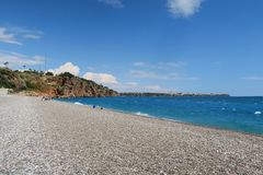 Παραλία χαλικιών Konyaalti σε Antalya - την Τουρκία Στοκ εικόνες με δικαίωμα ελεύθερης χρήσης