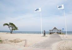 Παραλία Ahus με τις σημαίες και την αποβάθρα Στοκ Φωτογραφίες
