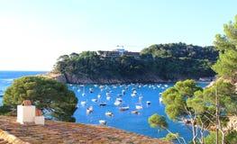 Παραλία Aiguablava Begur στο χωριό, Μεσόγειος, Catalon Στοκ Φωτογραφίες