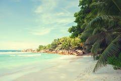 Παραλία Anse Cocos, Λα Digue, Σεϋχέλλες εικόνα που τονίζεται Στοκ εικόνες με δικαίωμα ελεύθερης χρήσης