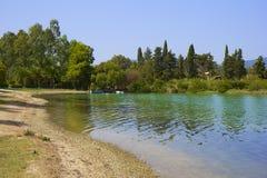 Παραλία Govino σε Gouvia, Κέρκυρα, Ελλάδα Στοκ φωτογραφία με δικαίωμα ελεύθερης χρήσης