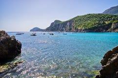 Παραλία Liapades στην Κέρκυρα, Ελλάδα Στοκ Εικόνες