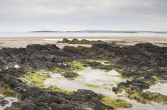 Παραλία at low tide σε Rhosneigr Στοκ εικόνα με δικαίωμα ελεύθερης χρήσης