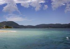 Παραλία Marathonisi κοντά στον κόλπο Laganas, Zakinthos/Zante, Ελλάδα Στοκ Φωτογραφίες