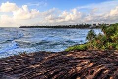 Παραλία Moragalla στο πρωί, Beruwala, Σρι Λάνκα Στοκ Εικόνες