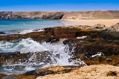 Παραλία Mujeres Playa σε Lanzarote, Κανάρια νησιά, Ισπανία Στοκ φωτογραφίες με δικαίωμα ελεύθερης χρήσης